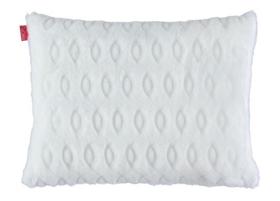 Faux fur pillow CIRCLES white 40x50 cm