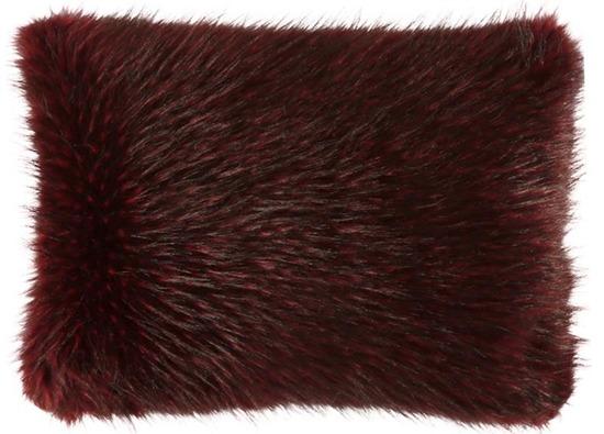 Futrzana poduszka dekoracyjna JENO bordowy 40x50 cm