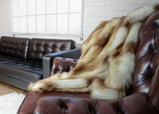Koc, narzuta  RUBINOWY SKARB ecru rudy 160x200 cm