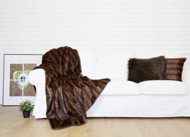 Decorative Faux Fur Set, Bedspread ROMANTIC BRUNETTE and Two Pillows ROMANTIC BRUNETTE