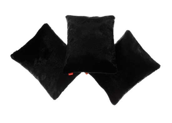 Decorative faux fur set, bedspread BLACK PANTHER and two pillows MINK