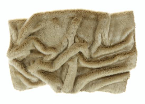 Decorative fur bedspread, blanket KARAKUM beige 155x200 cm