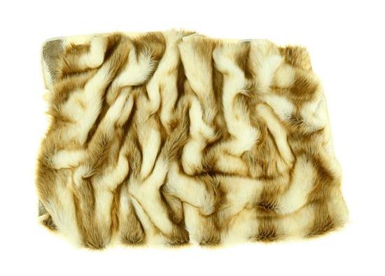 Decorative fur bedspread, blanket RUBY TREASURE ecru ginger 160x200 cm
