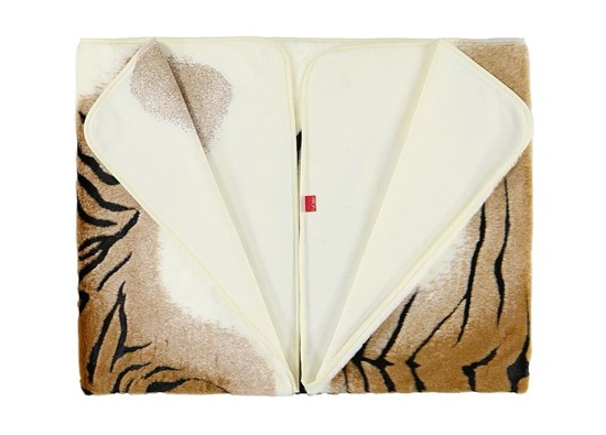 Decorative fur bedspread, blanket TIGER ecru, brown, black 145x190 cm