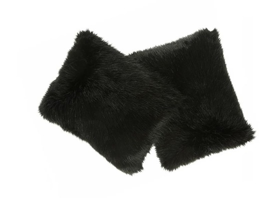 Faux fur pillow FOXY black 40x50 cm