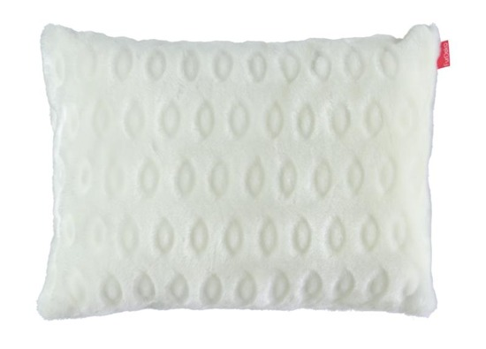 Futrzana poduszka dekoracyjna KÓŁKA kremowy 40x50 cm